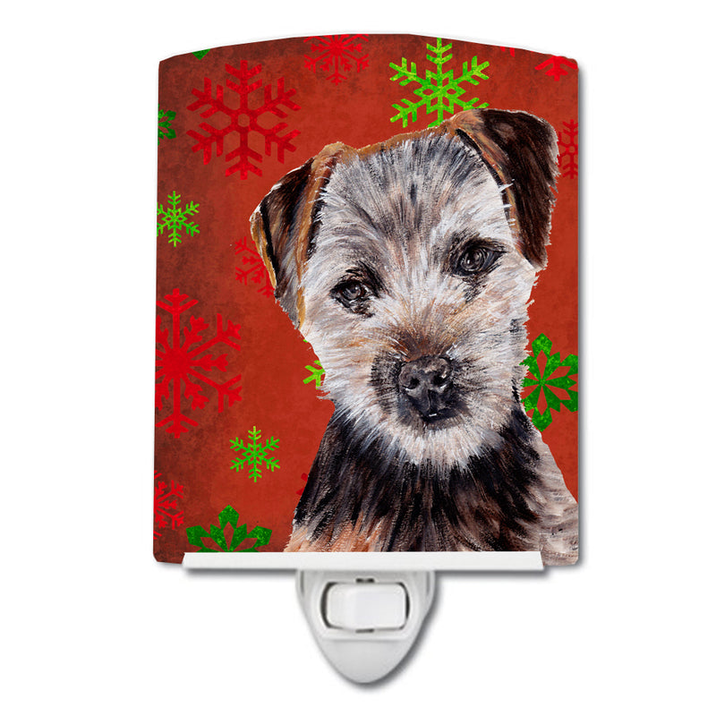 Buy this Norfolk Terrier Puppy Red Snowflakes Holiday Ceramic Night Light SC9759CNL