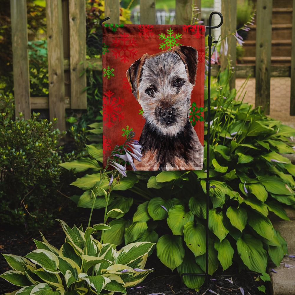 Norfolk Terrier Puppy Red Snowflakes Holiday Flag Garden Size SC9759GF by Caroline's Treasures