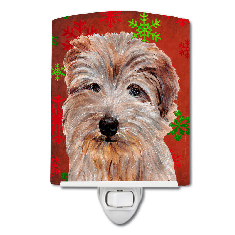 Buy this Norfolk Terrier Red Snowflakes Holiday Ceramic Night Light SC9760CNL