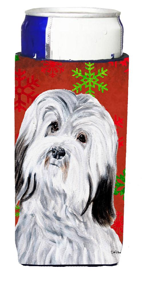 Havanese Red Snowflakes Holiday Ultra Beverage Insulators for slim cans SC9761MUK by Caroline's Treasures