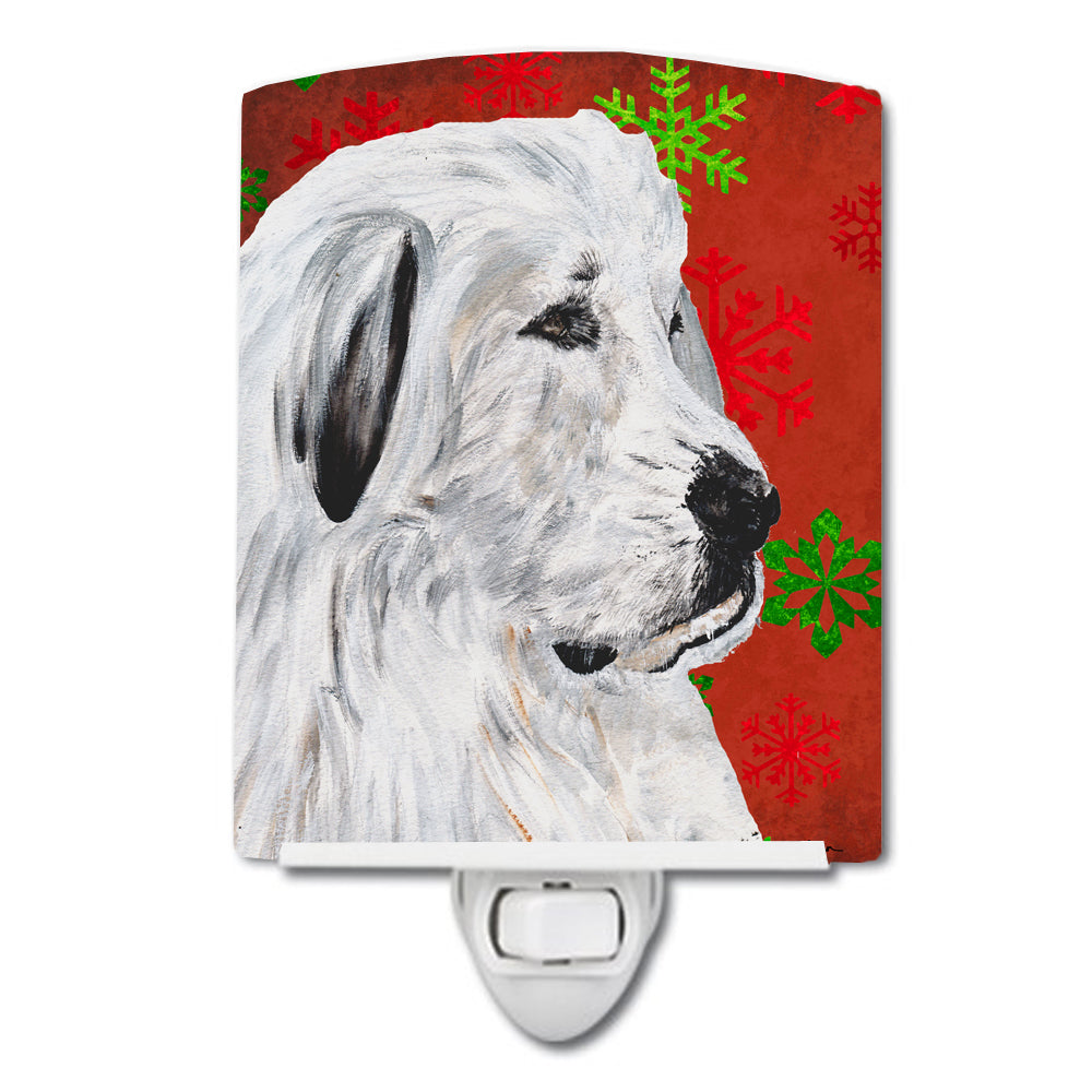 Great Pyrenees Red Snowflakes Holiday Ceramic Night Light SC9762CNL by Caroline's Treasures