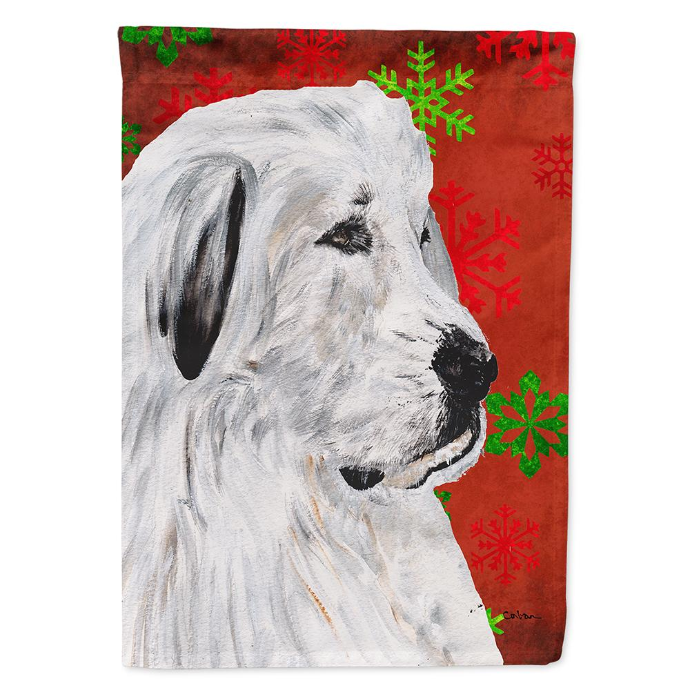 Great Pyrenees Red Snowflakes Holiday Flag Garden Size SC9762GF by Caroline's Treasures