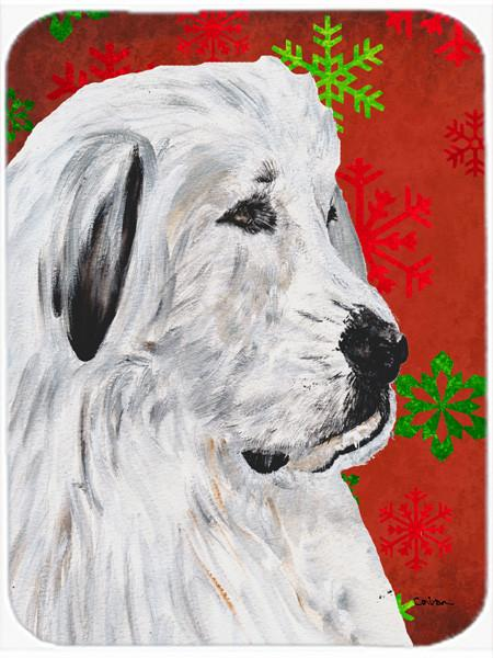 Great Pyrenees Red Snowflakes Holiday Glass Cutting Board Large Size SC9762LCB by Caroline's Treasures