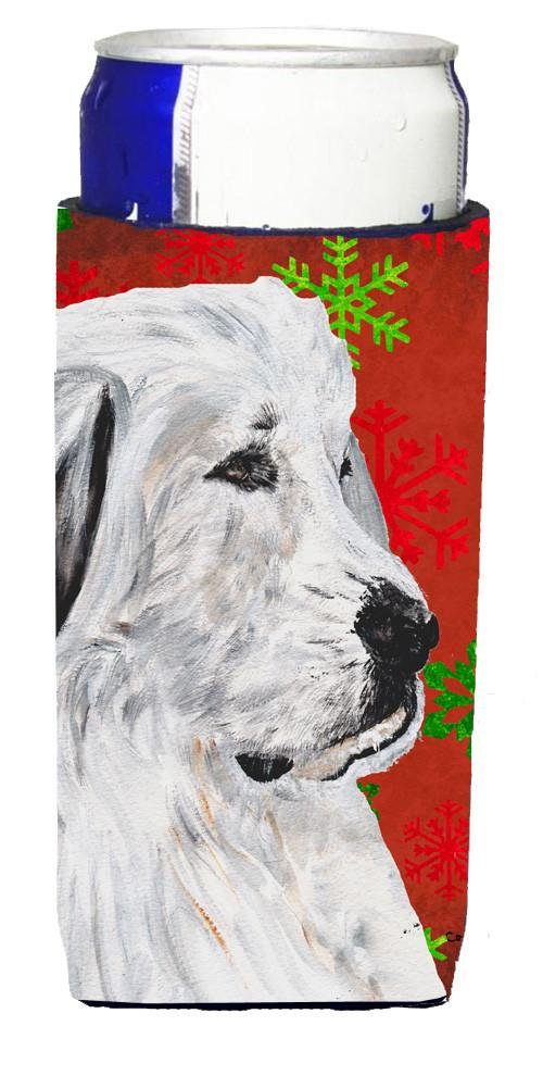 Great Pyrenees Red Snowflakes Holiday Ultra Beverage Insulators for slim cans SC9762MUK by Caroline's Treasures