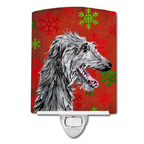Buy this Scottish Deerhound Red Snowflakes Holiday Ceramic Night Light SC9765CNL