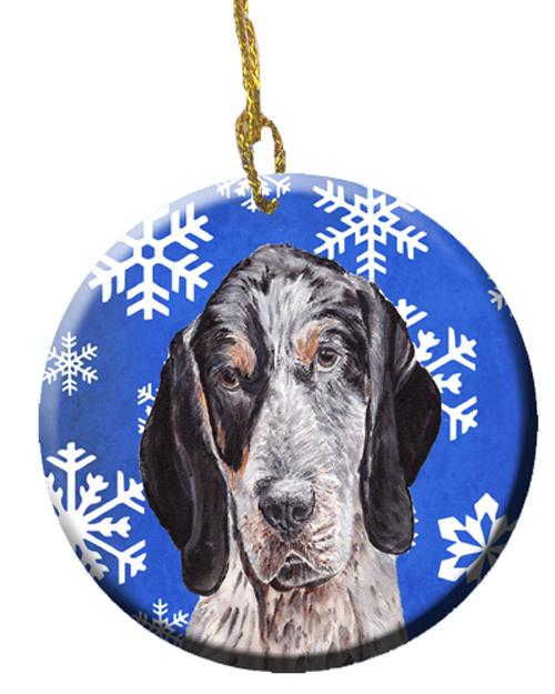 Blue Tick Coonhound Winter Snowflakes Ceramic Ornament SC9769CO1 by Caroline's Treasures