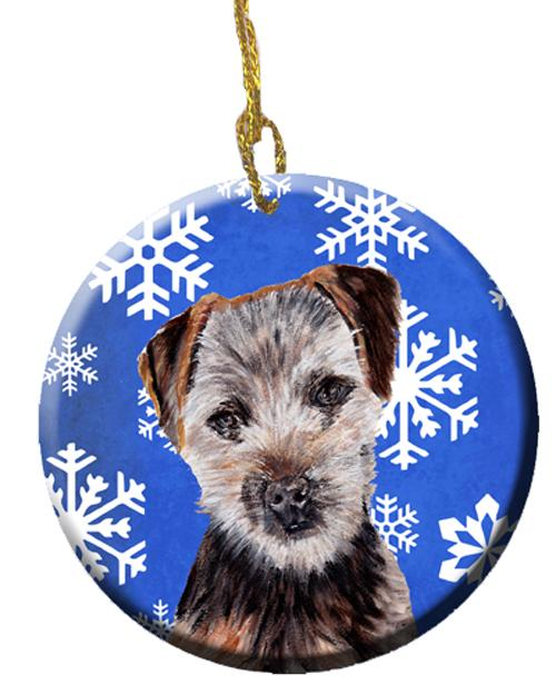 Norfolk Terrier Puppy Winter Snowflakes Ceramic Ornament SC9783CO1 by Caroline's Treasures