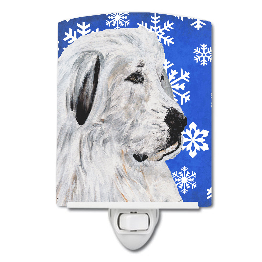 Great Pyrenees Winter Snowflakes Ceramic Night Light SC9786CNL by Caroline's Treasures