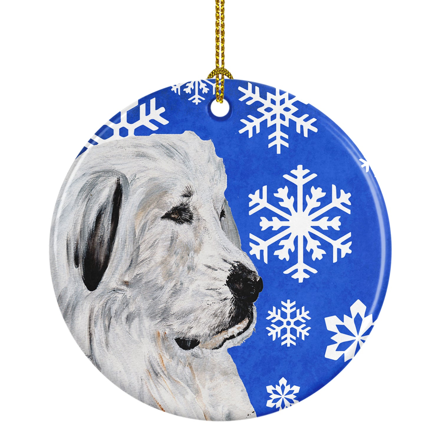 Great Pyrenees Winter Snowflakes Ceramic Ornament SC9786CO1 by Caroline's Treasures