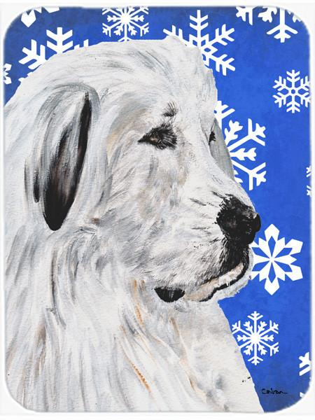 Great Pyrenees Winter Snowflakes Glass Cutting Board Large Size SC9786LCB by Caroline's Treasures