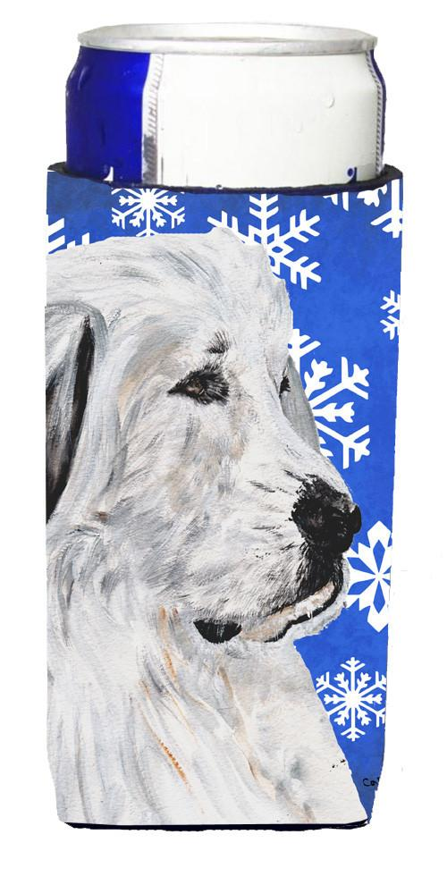 Great Pyrenees Winter Snowflakes Ultra Beverage Insulators for slim cans SC9786MUK by Caroline's Treasures