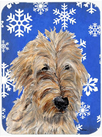 Buy this Golden Doodle 2 Winter Snowflakes Glass Cutting Board Large Size SC9787LCB