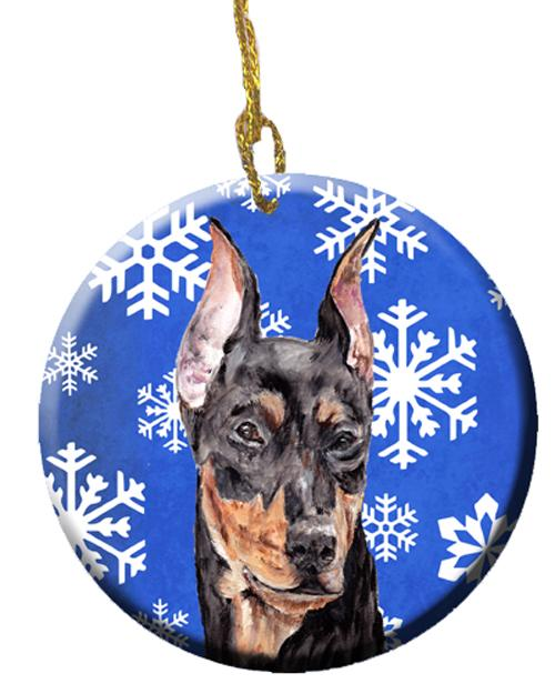 German Pinscher Winter Snowflakes Ceramic Ornament SC9788CO1 by Caroline's Treasures