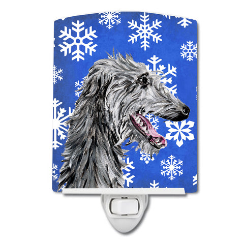 Buy this Scottish Deerhound Winter Snowflakes Ceramic Night Light SC9789CNL
