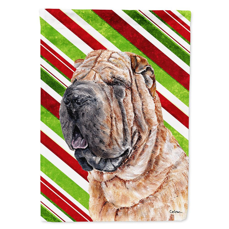 Buy this Shar Pei Candy Cane Christmas Flag Garden Size