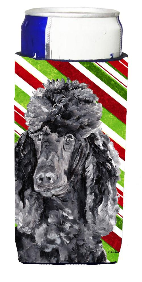 Black Standard Poodle Candy Cane Christmas Ultra Beverage Insulators for slim cans SC9794MUK by Caroline's Treasures
