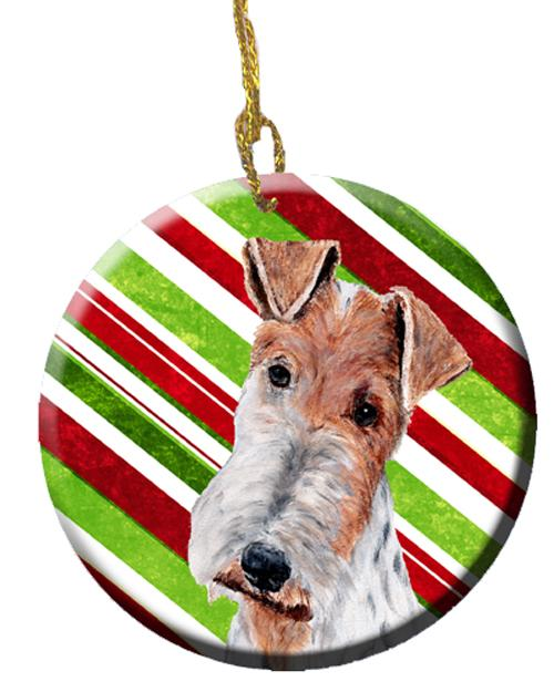 Wire Fox Terrier Candy Cane Christmas Ceramic Ornament SC9796CO1 by Caroline's Treasures