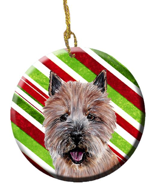 Norwich Terrier Candy Cane Christmas Ceramic Ornament SC9806CO1 by Caroline's Treasures