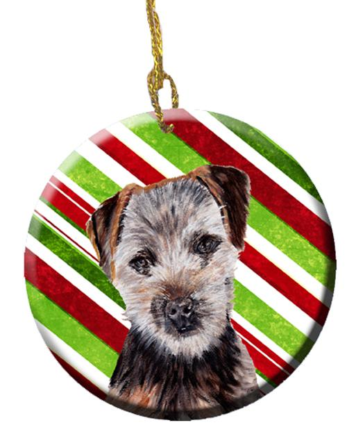 Norfolk Terrier Puppy Candy Cane Christmas Ceramic Ornament SC9807CO1 by Caroline's Treasures