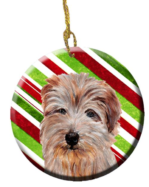 Norfolk Terrier Candy Cane Christmas Ceramic Ornament SC9808CO1 by Caroline's Treasures