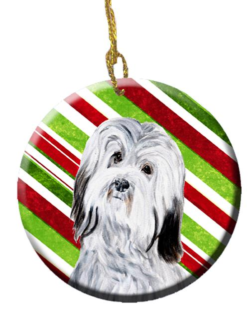 Havanese Candy Cane Christmas Ceramic Ornament SC9809CO1 by Caroline's Treasures
