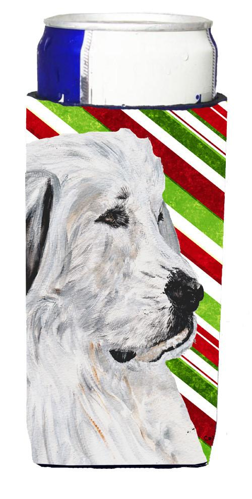 Great Pyrenees Candy Cane Christmas Ultra Beverage Insulators for slim cans SC9810MUK by Caroline's Treasures