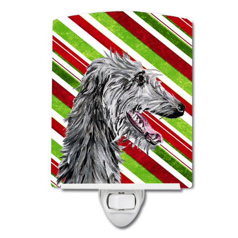 Buy this Scottish Deerhound Candy Cane Christmas Ceramic Night Light SC9813CNL