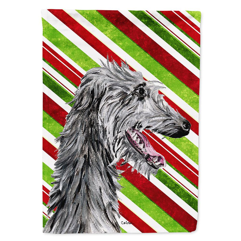 Buy this Scottish Deerhound Candy Cane Christmas Flag Garden Size