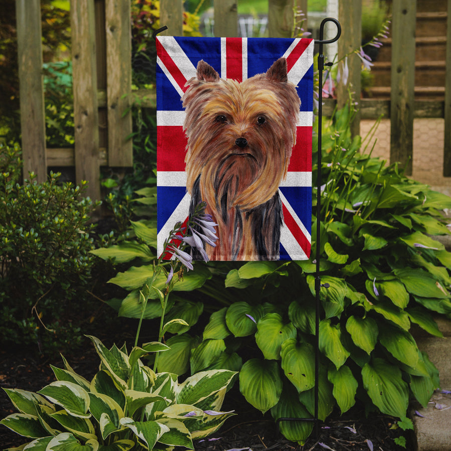 Buy this Yorkie with English Union Jack British Flag Flag Garden Size SC9822GF