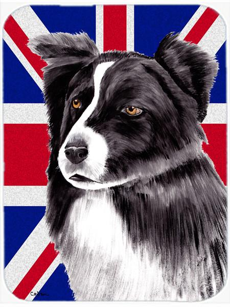 Border Collie with English Union Jack British Flag Glass Cutting Board Large Size SC9824LCB by Caroline's Treasures