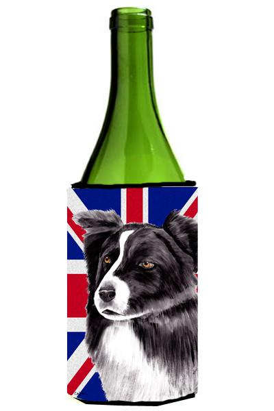 Border Collie with English Union Jack British Flag Wine Bottle Beverage Insulator Hugger SC9824LITERK by Caroline's Treasures