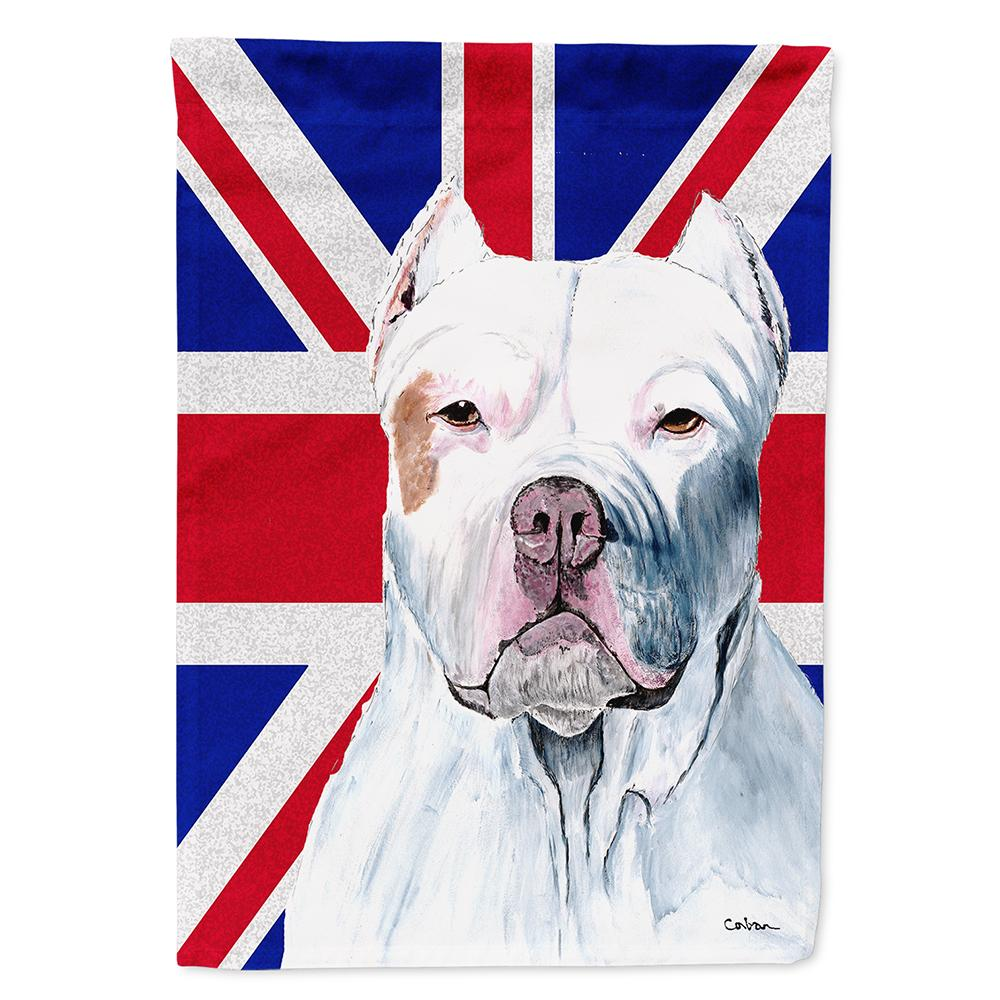 Pit Bull with English Union Jack British Flag Flag Garden Size by Caroline's Treasures