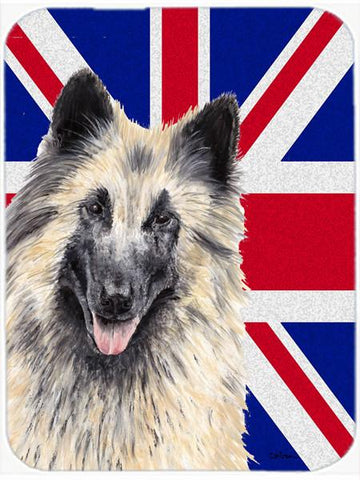 Buy this Belgian Tervuren with English Union Jack British Flag Glass Cutting Board Large Size SC9849LCB