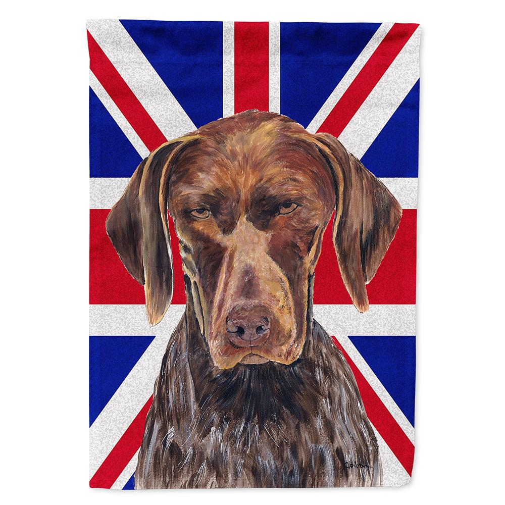 Buy this German Shorthaired Pointer with English Union Jack British Flag Flag Garden Size SC9852GF