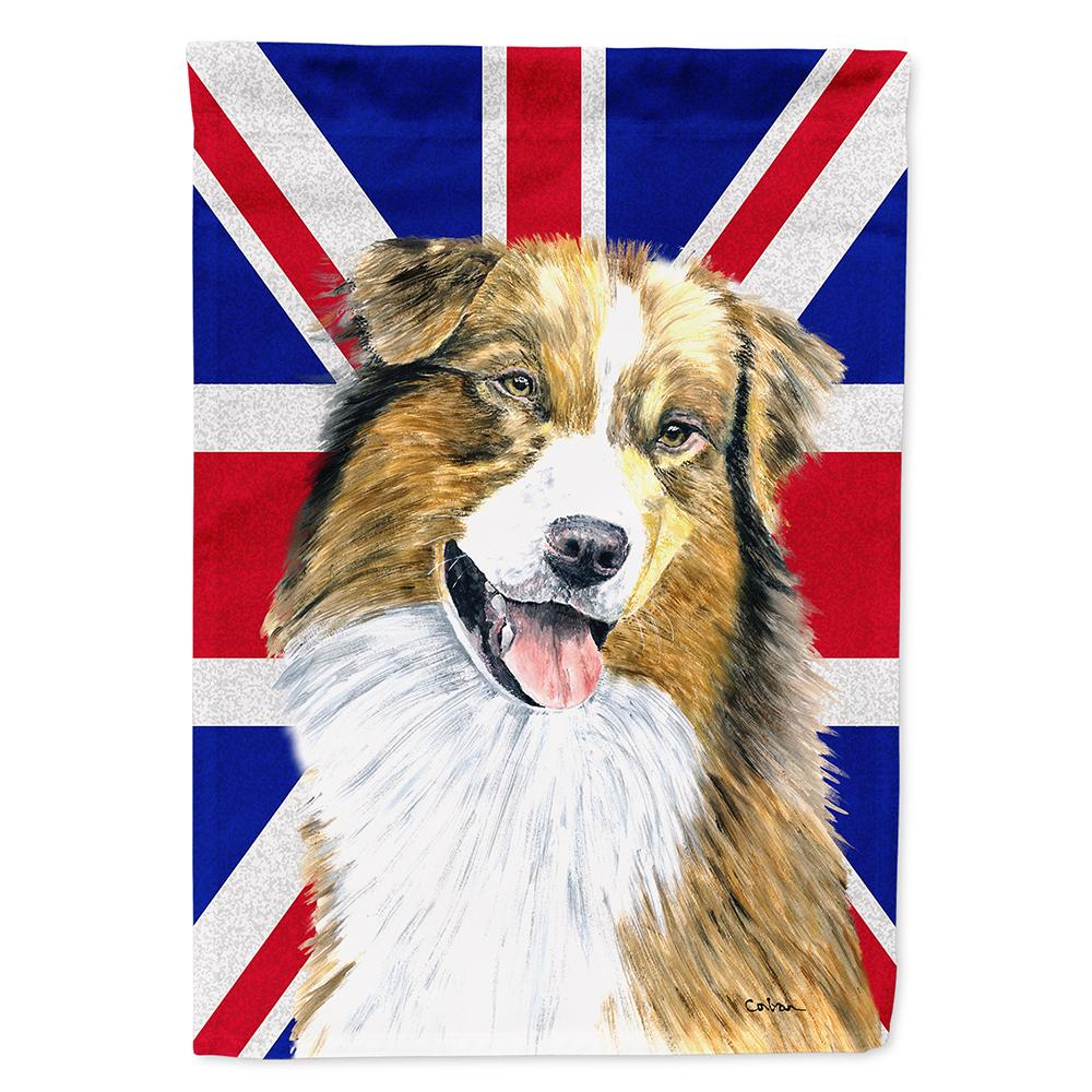 Australian Shepherd with English Union Jack British Flag Flag Garden Size by Caroline's Treasures