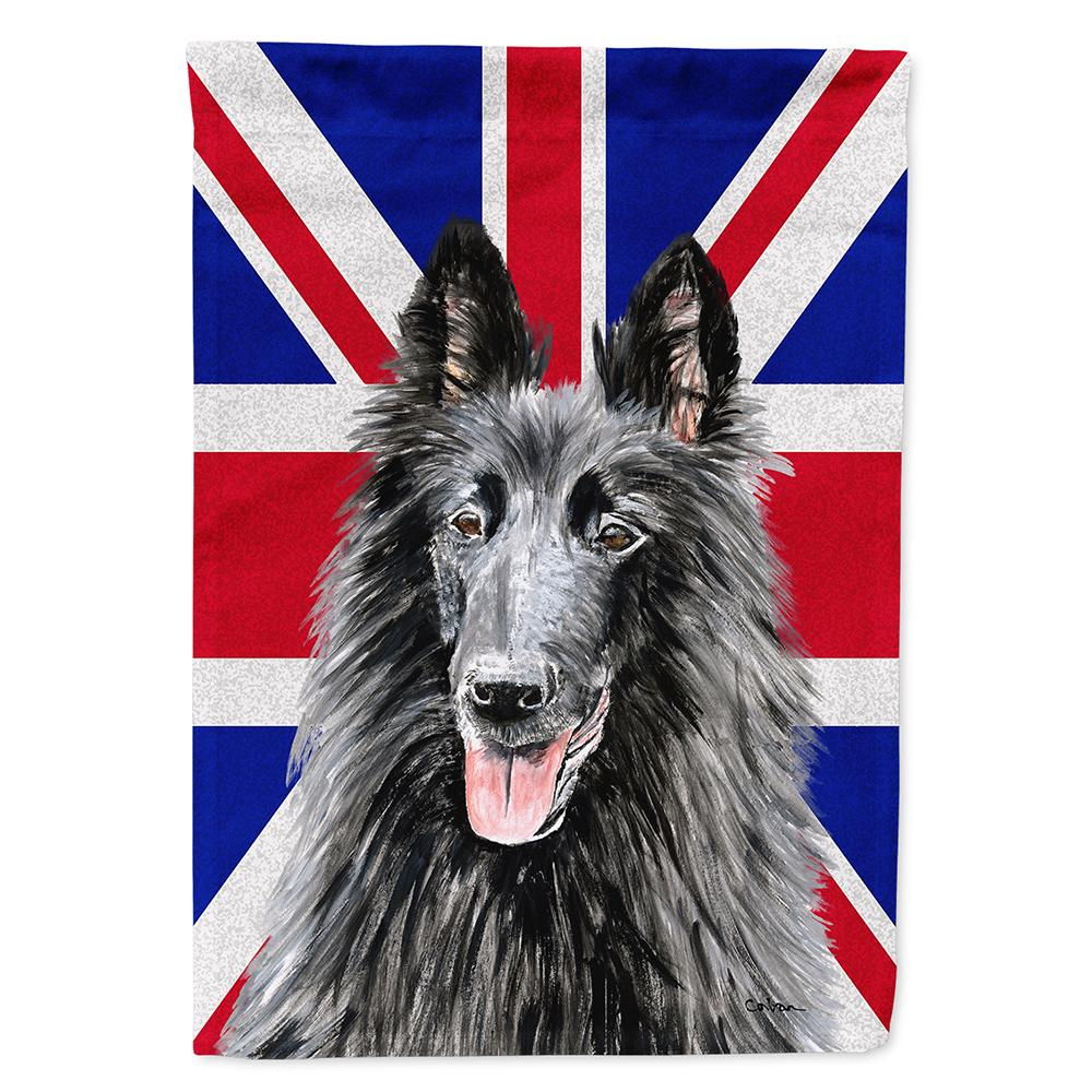 Buy this Belgian Sheepdog with English Union Jack British Flag Flag Garden Size SC9855GF