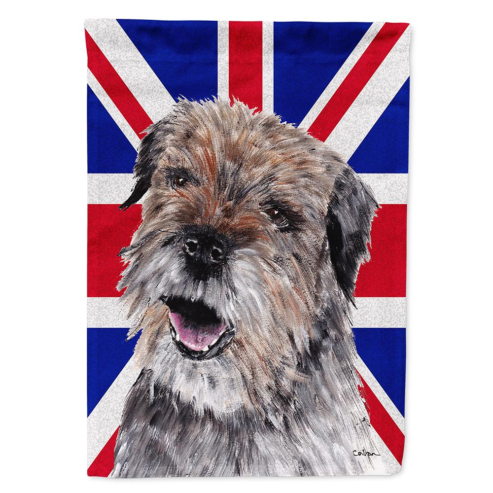 Buy this Border Terrier with Engish Union Jack British Flag Flag Garden Size SC9865GF