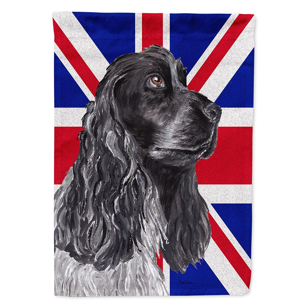 Buy this Black Cocker Spaniel with Engish Union Jack British Flag Flag Garden Size SC9868GF