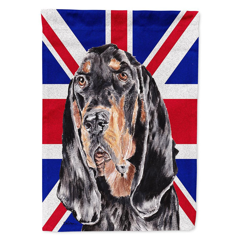 Buy this Black and Tan Coonhound with Engish Union Jack British Flag Flag Garden Size