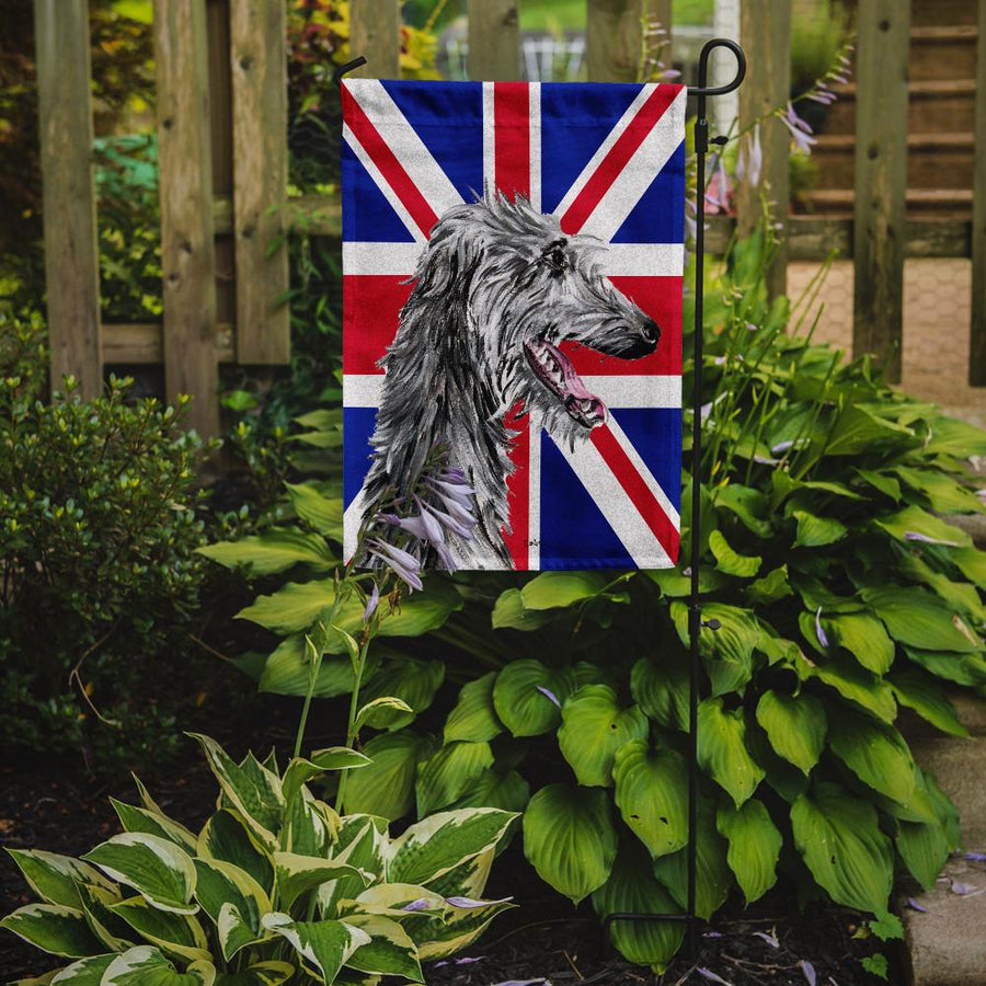Buy this Scottish Deerhound with English Union Jack British Flag Flag Garden Size SC9871GF