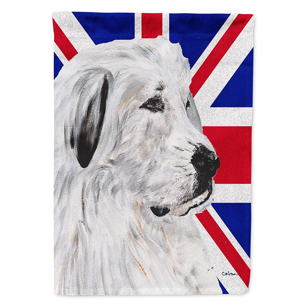 Great Pyrenees with English Union Jack British Flag Flag Garden Size SC9873GF by Caroline's Treasures