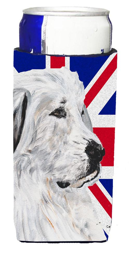 Great Pyrenees with English Union Jack British Flag Ultra Beverage Insulators for slim cans SC9873MUK by Caroline's Treasures