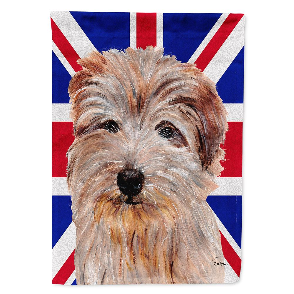 Buy this Norfolk Terrier with English Union Jack British Flag Flag Garden Size SC9875GF