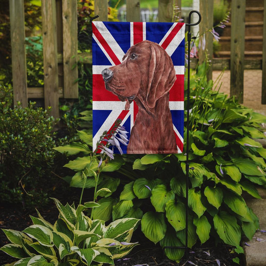 Buy this Redbone Coonhound with English Union Jack British Flag Flag Garden Size SC9880GF