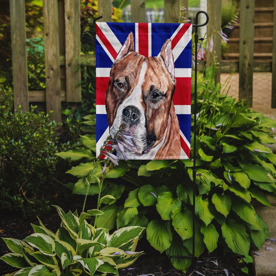Buy this Staffordshire Bull Terrier Staffie with English Union Jack British Flag Flag Garden Size SC9883GF