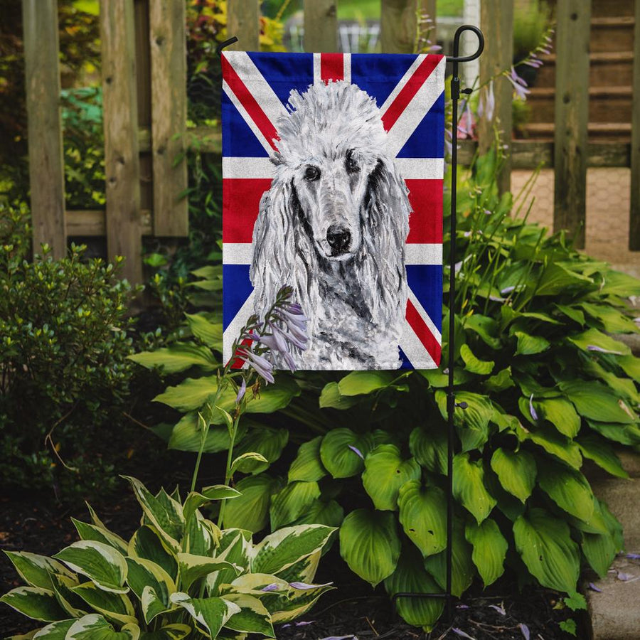 Buy this White Standard Poodle with English Union Jack British Flag Flag Garden Size SC9884GF