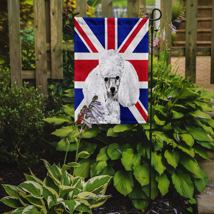 Buy this White Toy Poodle with English Union Jack British Flag Flag Garden Size SC9886GF