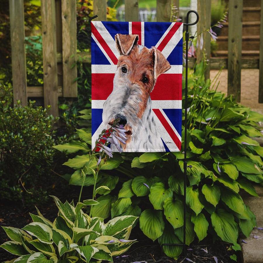 Buy this Wire Fox Terrier with English Union Jack British Flag Flag Garden Size SC9887GF