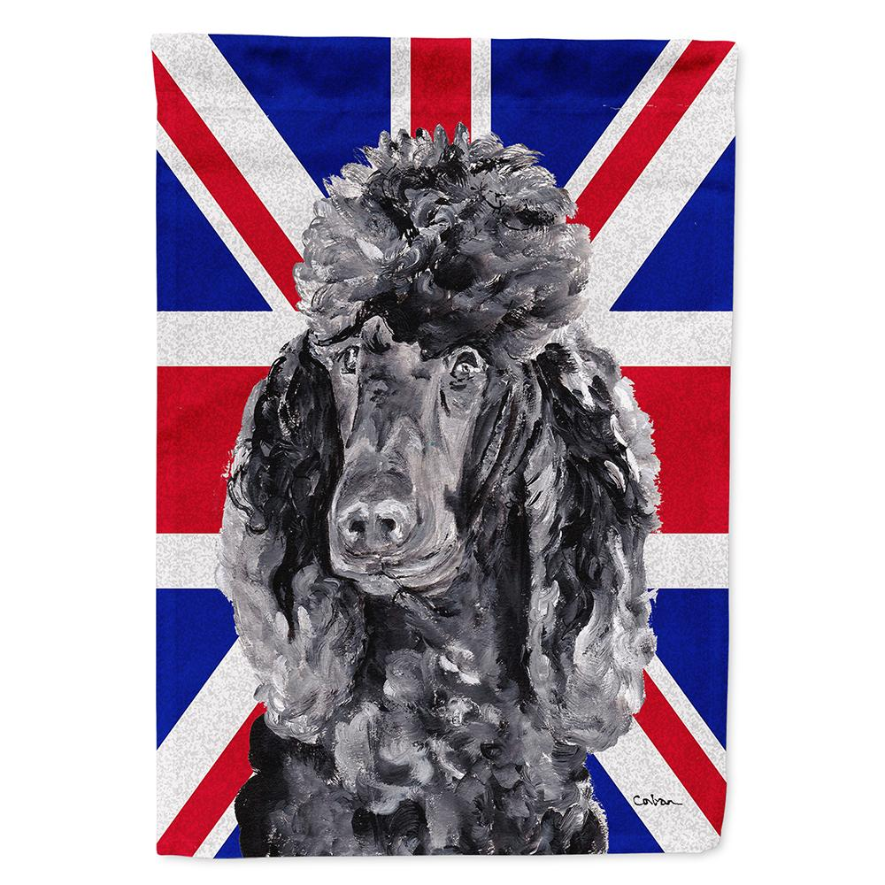 Buy this Black Standard Poodle with English Union Jack British Flag Flag Garden Size SC9889GF