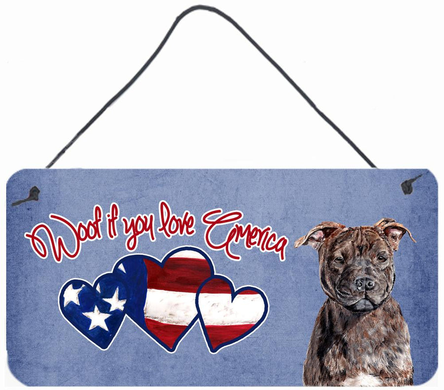 Buy this Woof if you love America Staffie Wall or Door Hanging Prints SC9905DS612